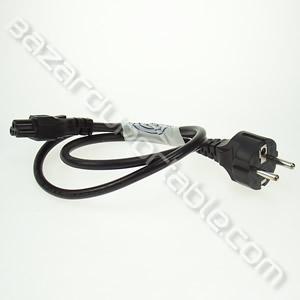 Câble alimentation - 3 pôles (oreilles de Mickey) - Prise terre norme FR 220V - longueur inférieure à 1m